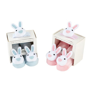 Bunny Wrist Sock Rattle - Pink or Blue