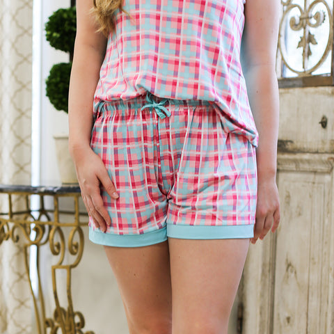 Tropical Punch Plaid Sleep Shorts