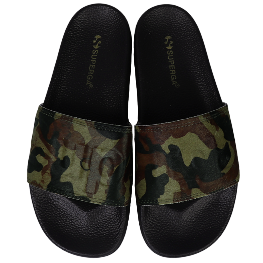 Superga Slides <br> Black Olive-Camo