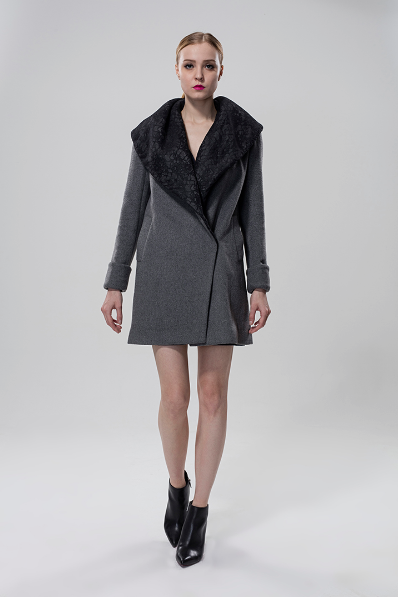 Wool Coat With Lace