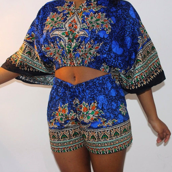 ROYAL BLUE DAHLIA SHORTS