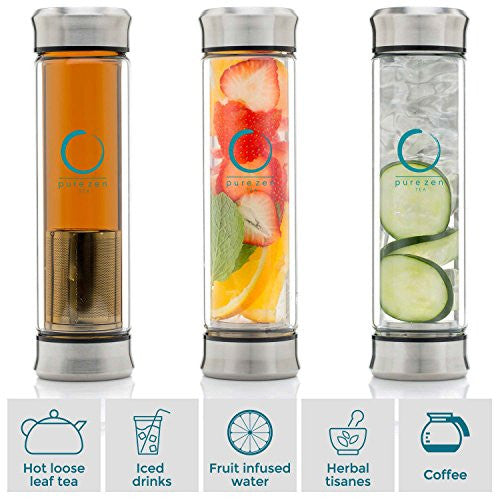 Dishwasher Safe Leakproof Bottle with Strainer For Loose Leaf Tea and Fruit Water 13 Ounce BPA Free Double Wall Glass Travel Tea Mug with Stainless Steel Filter Pure Zen Tea Tumbler with Infuser