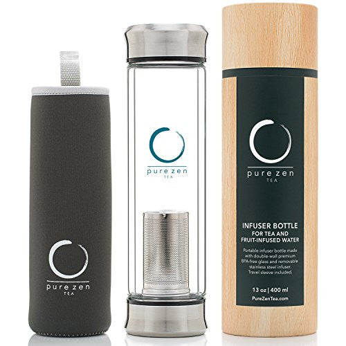 Pure Zen Tea Tumbler with Infuser | BPA Free Double Wall Glass Travel Tea Mug with Stainless Steel Filter | Leakproof Tea Bottle with Strainer For Loose ...  sc 1 st  Sportland Tea Co. & Pure Zen Tea Tumbler with Infuser | BPA Free Double Wall Glass ...