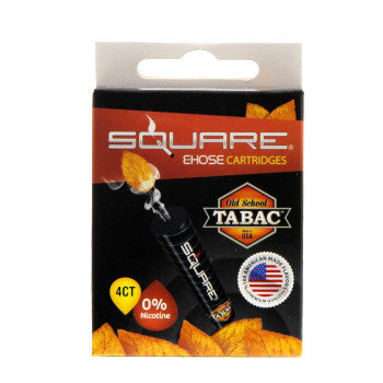 Square E-Hose Cartridge 4 Pack - Old School Tabac Zero Nicot