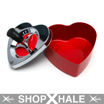 Heart Push Down Ashtray Red