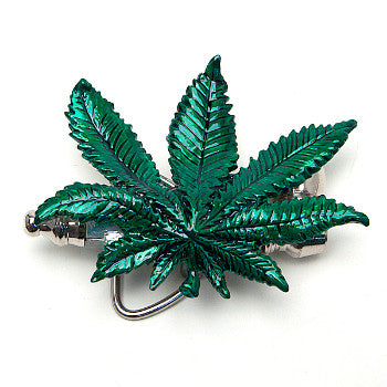Weed leaf belt buckle
