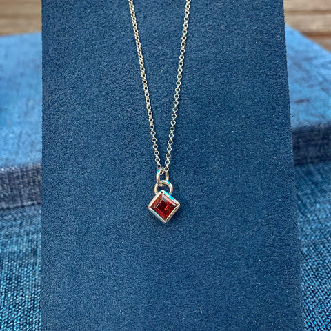 Small Garnet Diamond Necklace