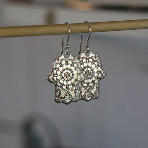 Mandala Hamsa Earrings - Hebel Design