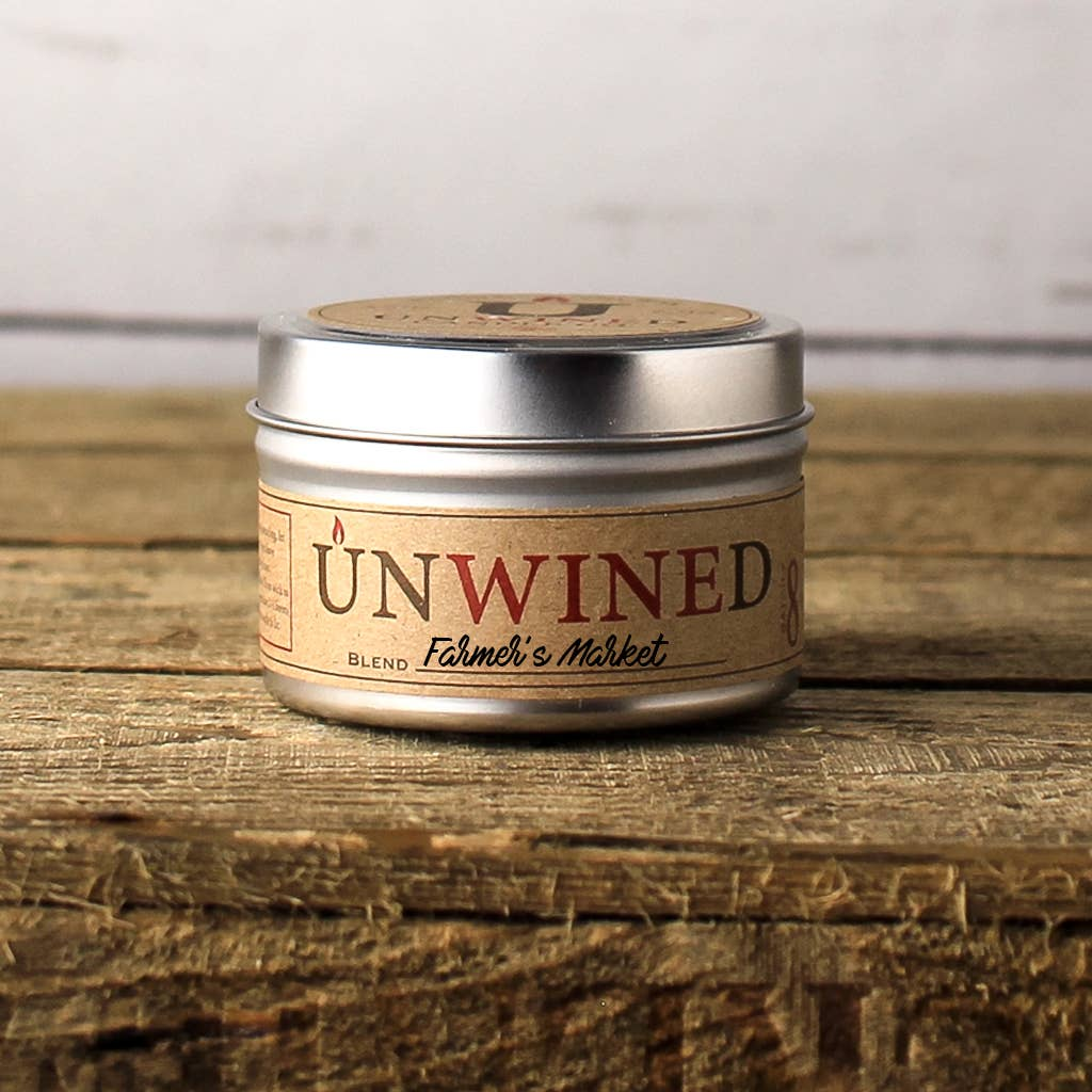 Unwined Candles Farmer's Market Travel Tin - 6oz. - Nature's Own Essence