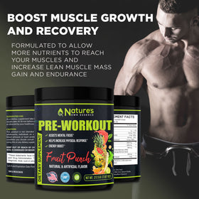 Pre Workout Supplement - Energy Booster Nitric Shock Pre-Workout Powder - Increase Endurance, Muscle Mass, Focus, and Strength - Keto Friendly Sport Drink for Men and Women - 30 Servings