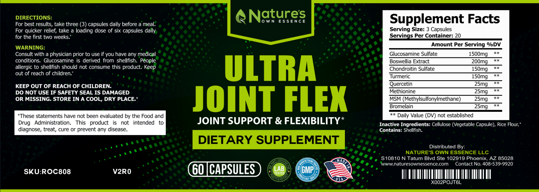 Glucosamine with Chondroitin Joint Supplement - Nature's Own Essence Ultra Joint Flex with MSM, Boswellia, and Turmeric for Men & Women - Healthy Knee Support & Natural Discomfort Relief - 60 Capsules