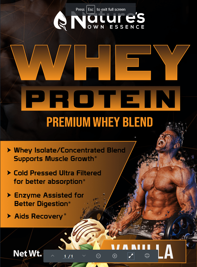 Pure Whey Protein Powder - 100% Natural Whey Protein Isolate Concentrate by Nature's Own Essence - Gluten Free, Fast Digesting, Keto Friendly for Fitness and Optimum Nutrition - 2 Lbs