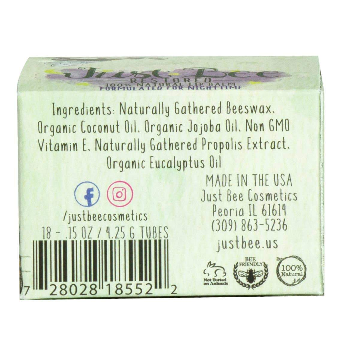 Just Bee Cosmetics Just Bee Renewed Lip Balm - Lavender - Nature's Own Essence