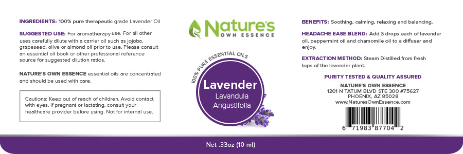 Nature's Own Essence Pure Lavender Essential Oil - Nature's Own Essence