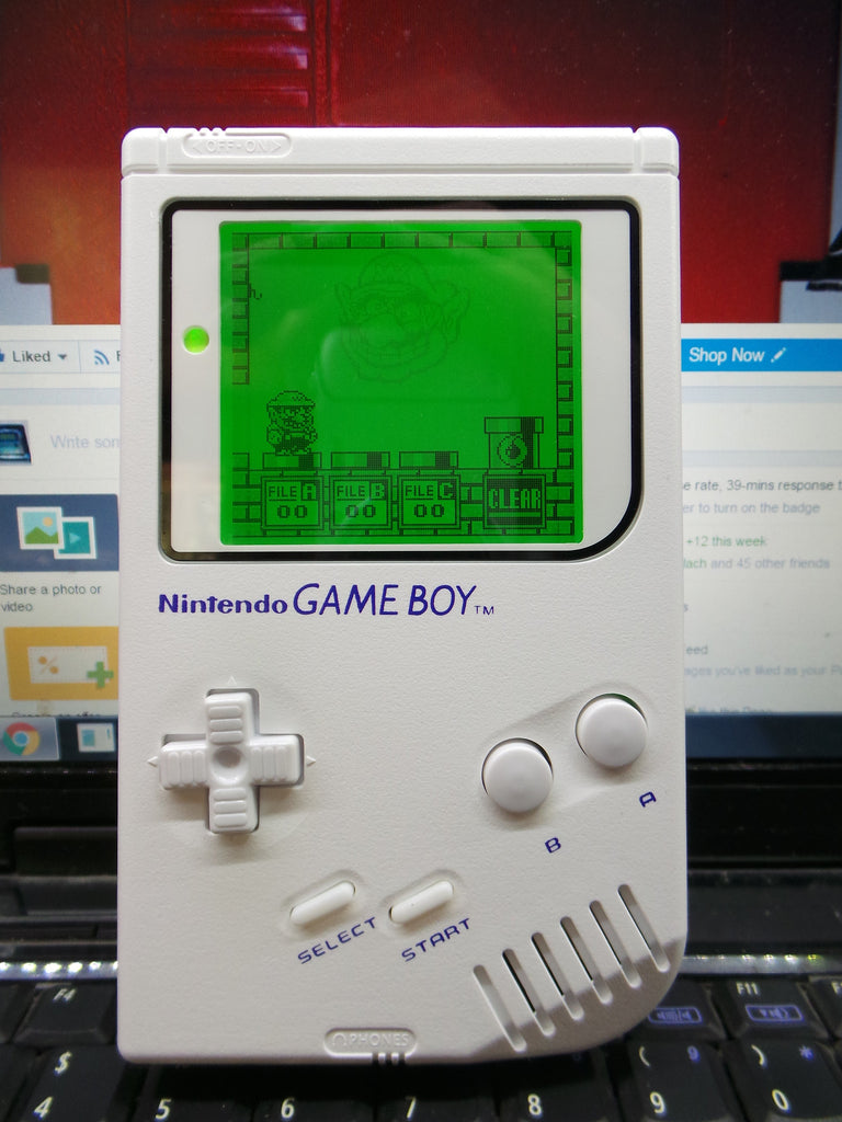White Custom Game Boy DMG with Green Backlight