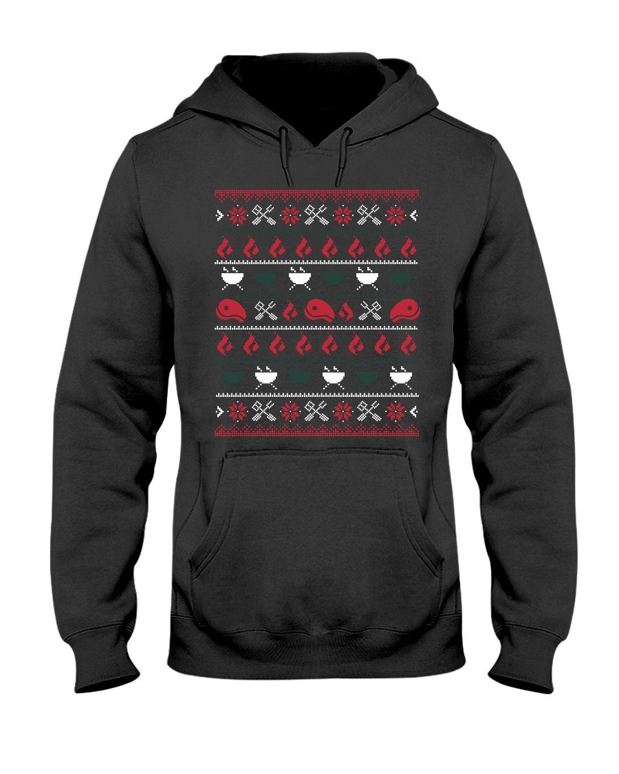 Christmas BBQ Ugly Christmas Sweater Apparel Fuel Dark Colored Hoodie Black S
