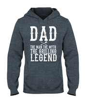 Load image into Gallery viewer, Dad The Man Hoodie Apparel Fuel Dark Colored Hoodie Dark Heather S
