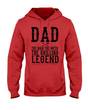 Load image into Gallery viewer, Dad The Man Hoodie Apparel Fuel Light Colored Hoodie Red S