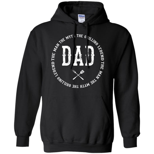 DAD The Man The Myth The Grilling Legend Hoodie Sweatshirts CustomCat Black S