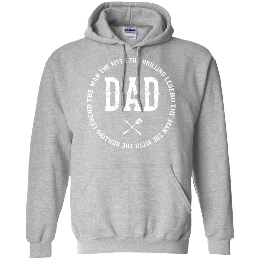 DAD The Man The Myth The Grilling Legend Hoodie Sweatshirts CustomCat Sport Grey S