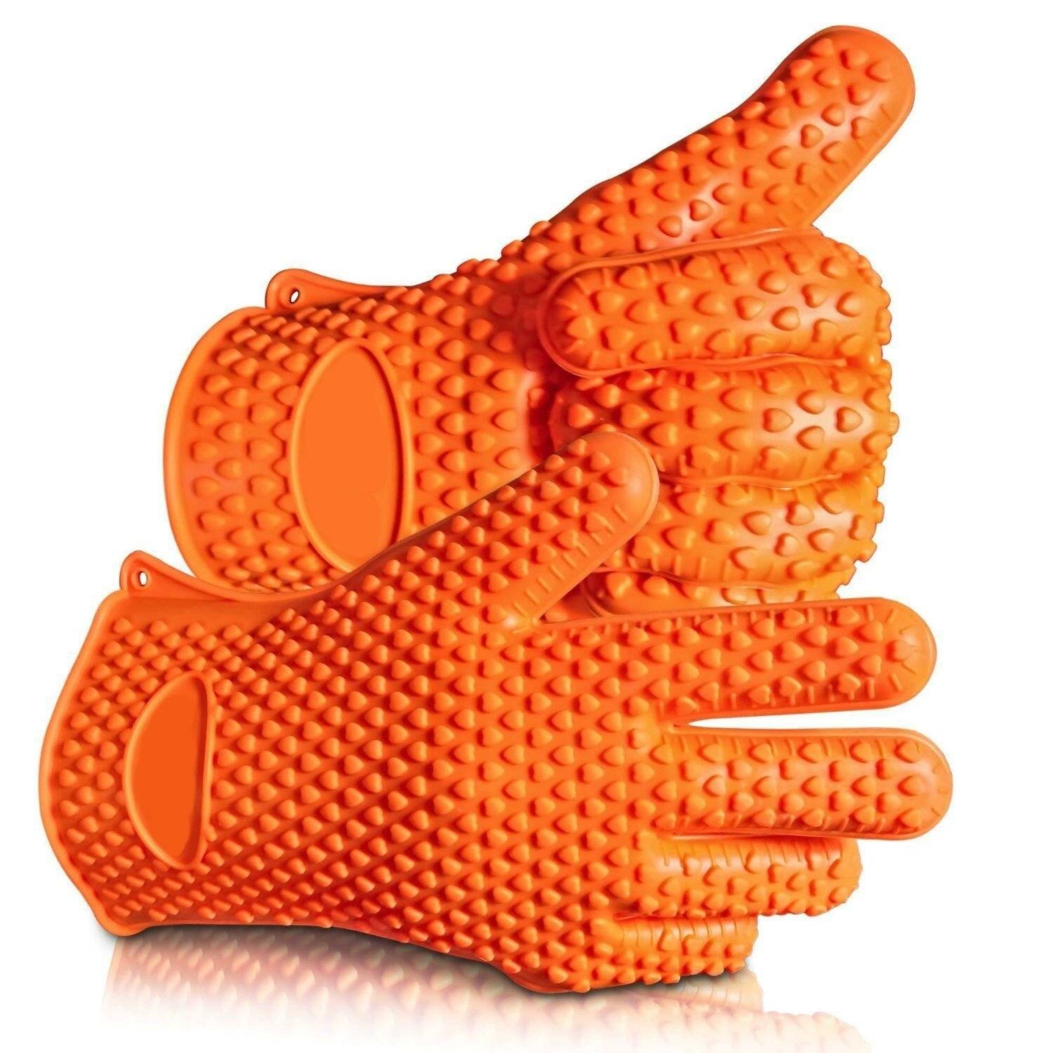 Heat Resistant Silicone Gloves for BBQ, Smoker, Grill & Oven – Protect your Hands BBQ Grilling & Smoking Accessory I Love Grilling Meat