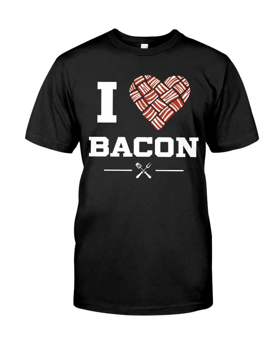 I Heart Bacon | Grilling BBQ T-Shirt Apparel Fuel Black S