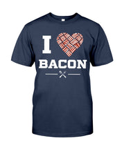 Load image into Gallery viewer, I Heart Bacon | Grilling BBQ T-Shirt Apparel Fuel Navy S