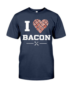 I Heart Bacon | Grilling BBQ T-Shirt Apparel Fuel Navy S