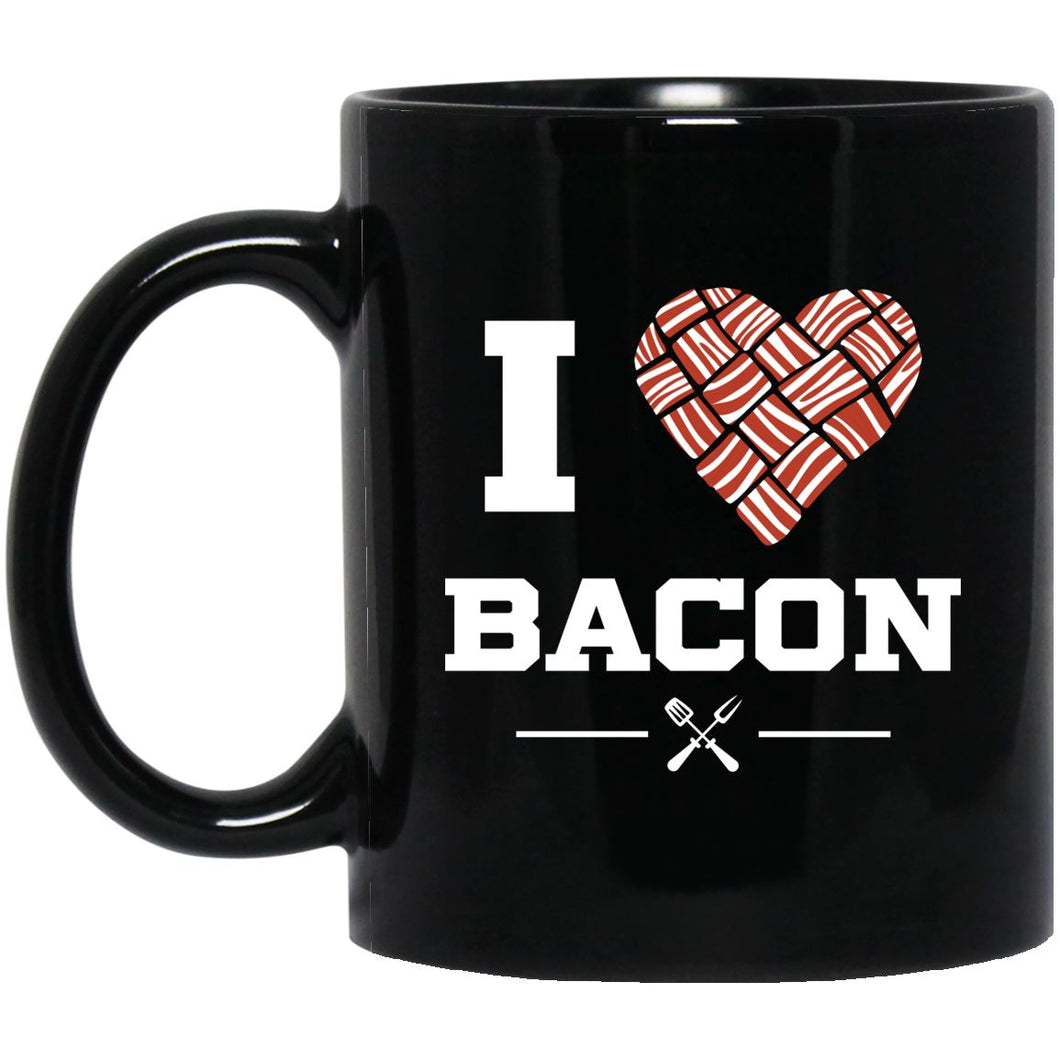 I Heart Bacon Mug Drinkware CustomCat Black 11 oz.