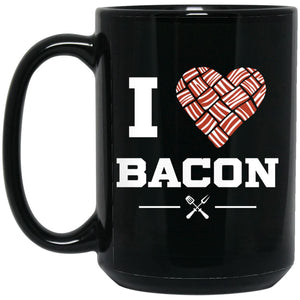 I Heart Bacon Mug Drinkware CustomCat Black 15 oz.