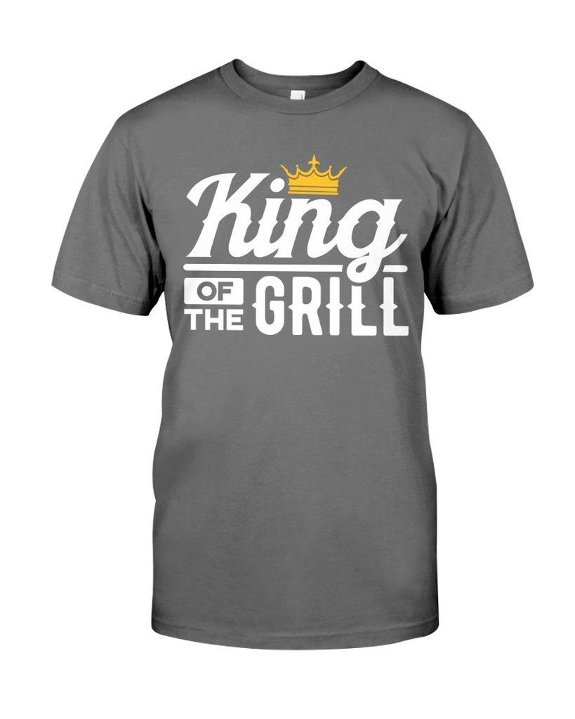 King of the Grill | Grilling T-Shirts for Dad Apparel Fuel Charcoal Heather S