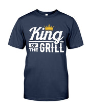 Load image into Gallery viewer, King of the Grill | Grilling T-Shirts for Dad Apparel Fuel Navy S