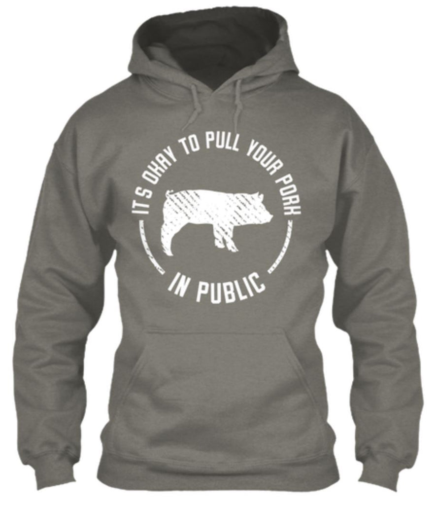 NEW - It's Okay To Pull Your Pork In Public Hoodie Hoodies ILGM Small Light Gray