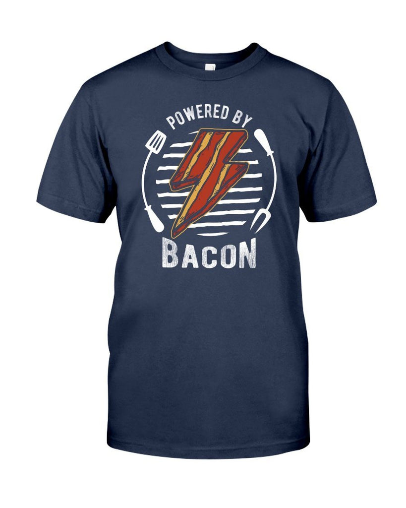Powered By Bacon (Orange) | Grilling BBQ T-Shirt Apparel Fuel Navy S