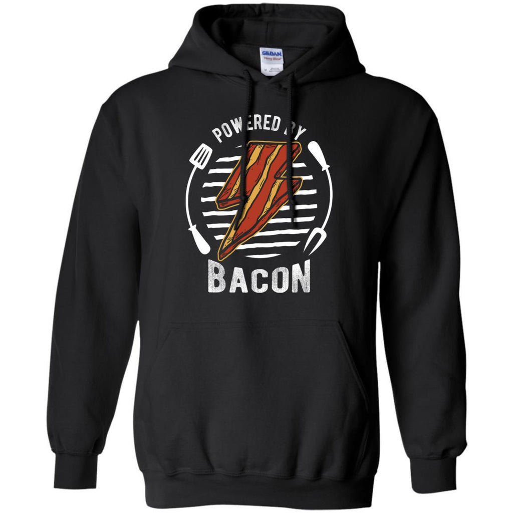 Powered By Bacon (Orange) Hoodie Sweatshirts CustomCat Black S
