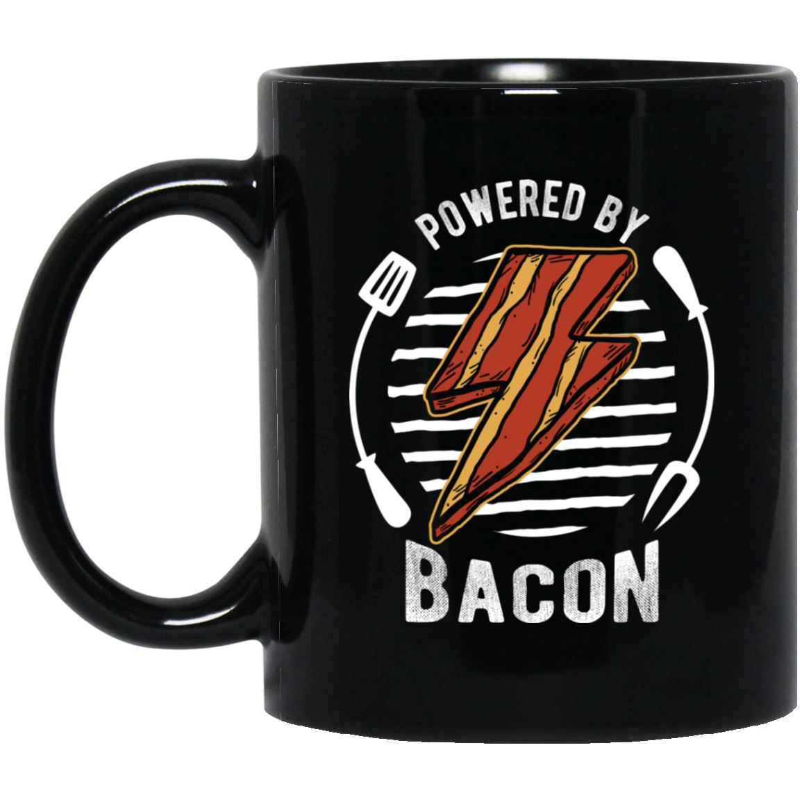 Powered By Bacon (Orange) Mug Drinkware CustomCat Black 11 oz.