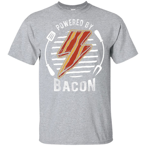 Powered By Bacon (Orange) T-Shirt T-Shirts ScalablePress Sport Grey S