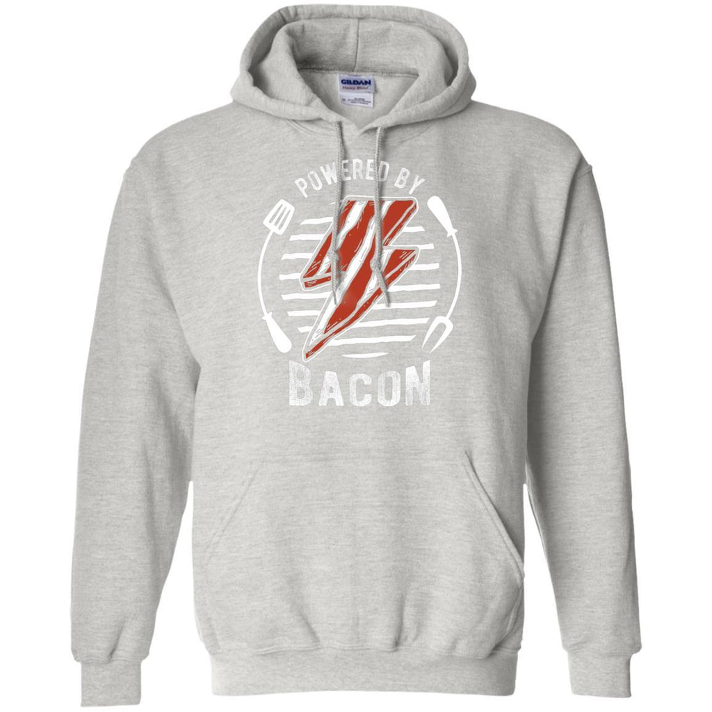Powered By Bacon (White) Hoodie Sweatshirts CustomCat Ash S