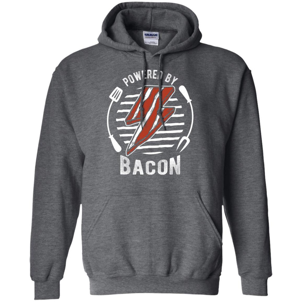 Powered By Bacon (White) Hoodie Sweatshirts CustomCat Dark Heather S