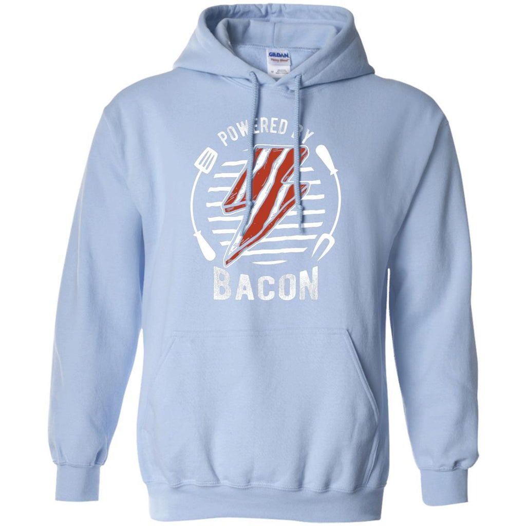Powered By Bacon (White) Hoodie Sweatshirts CustomCat Light Blue S