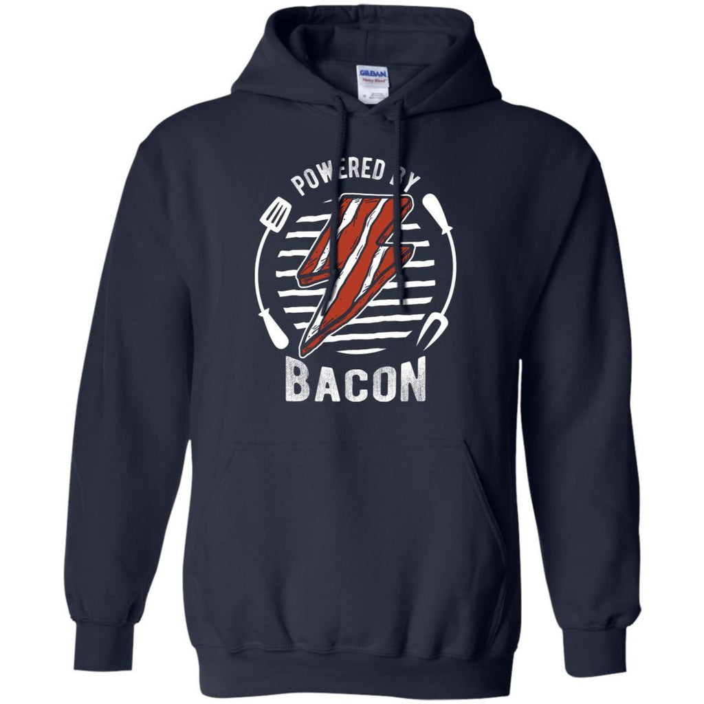 Powered By Bacon (White) Hoodie Sweatshirts CustomCat Navy S