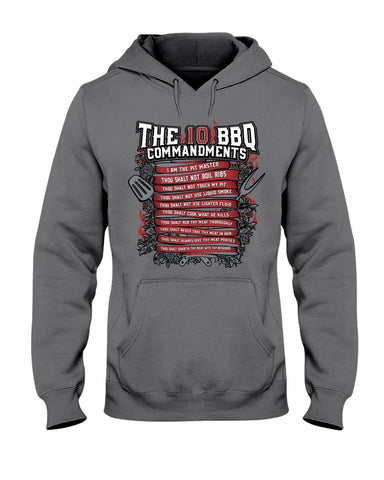 The 10 Commandments of BBQ | Grilling BBQ Hoodie Sweatshirts Fuel Charcoal S