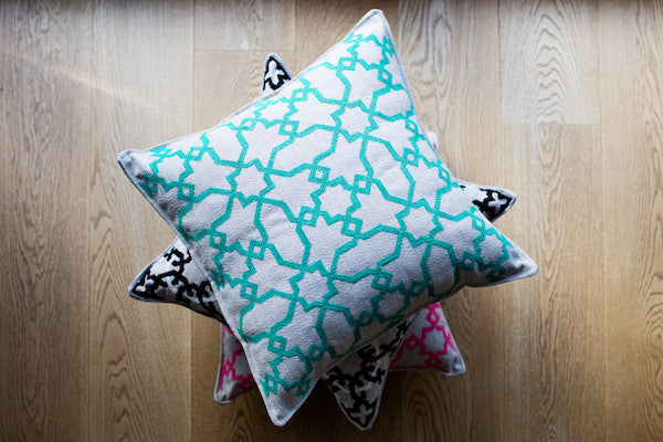 hand-embroidered cushion cover luxury interiors