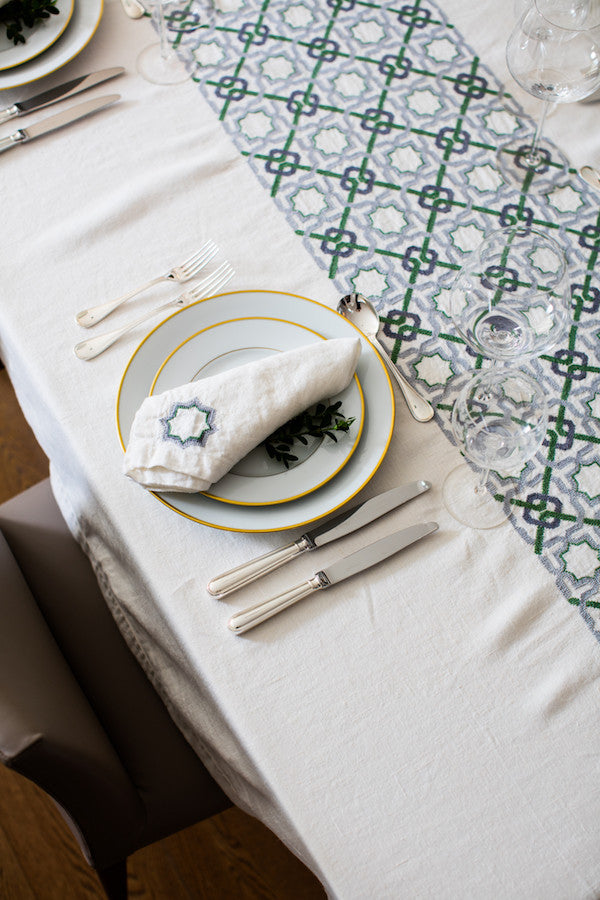 craftsmanship hand-embroidered tablecloth linen by refugees in jordan