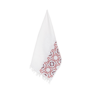 WHITE LINEN SHAWL ANTIQUE ROSE ALHAMBRA®
