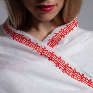 WHITE LINEN SHAWL CAPRI RED IBRAHIM
