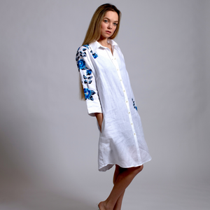 WHITE LINEN SHIRT DRESS SEA BLUE HANA ROSE