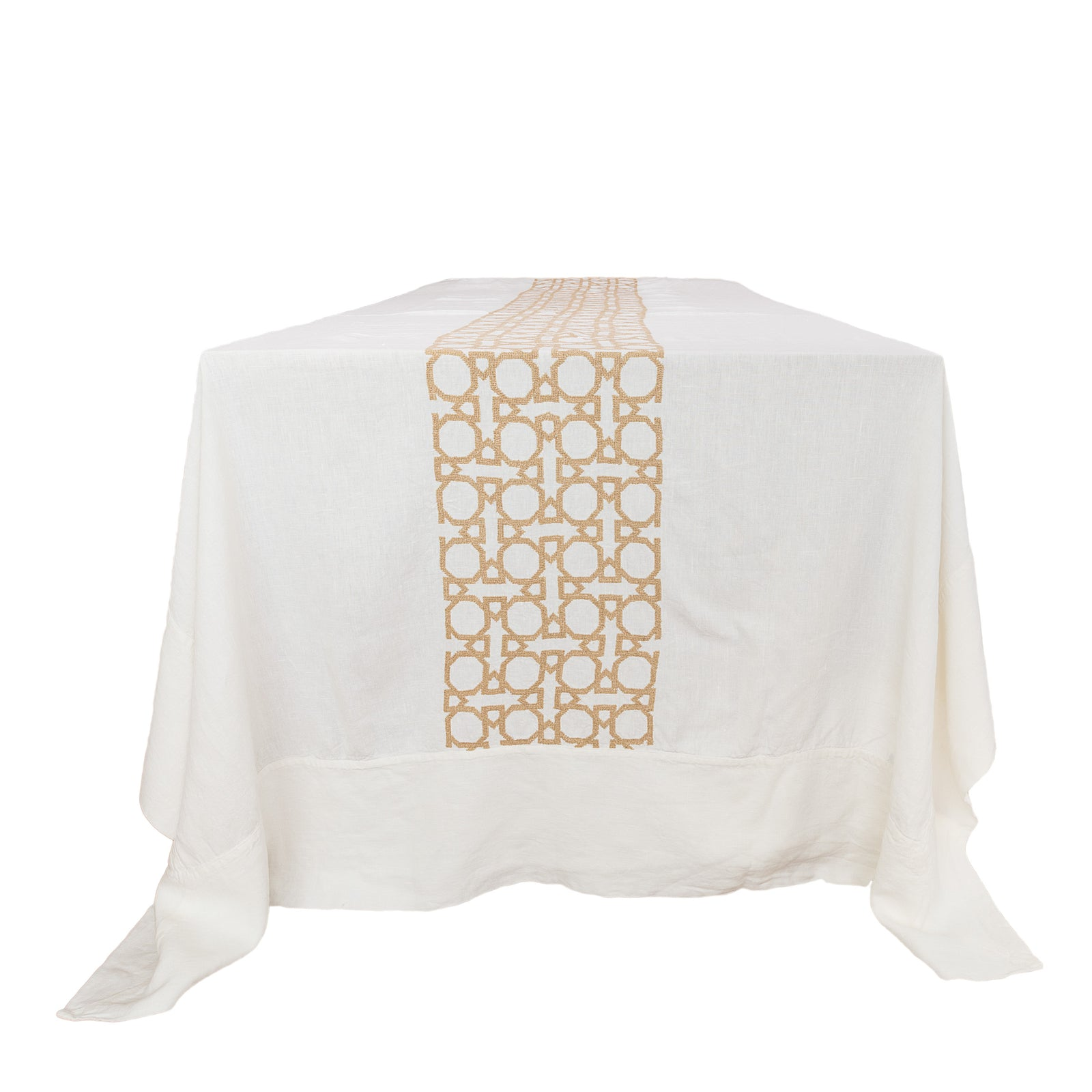Cream Tablecloth Gold Al Quds (180 x 280 cm)