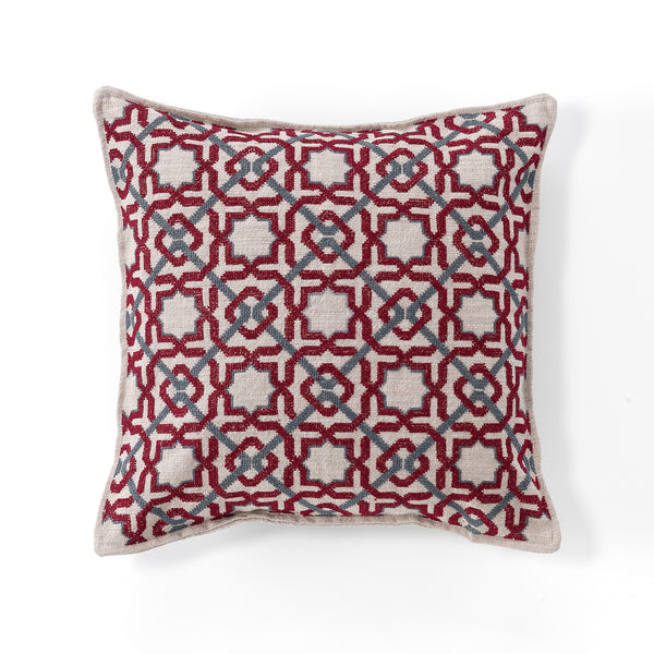 hand-embroidered cushion covers by refugees craftsmanship