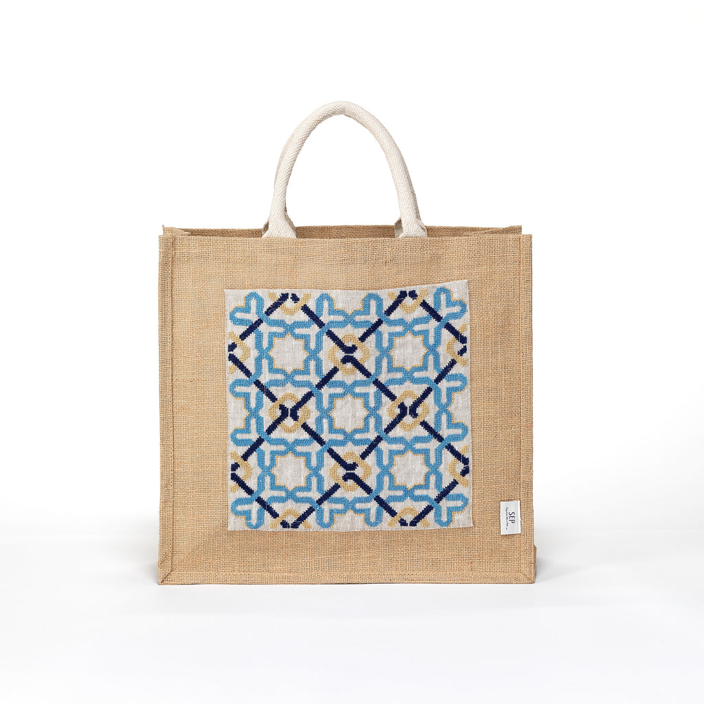 beach pool boat tote tote bag hand-embroidered by refugees craftsmanship